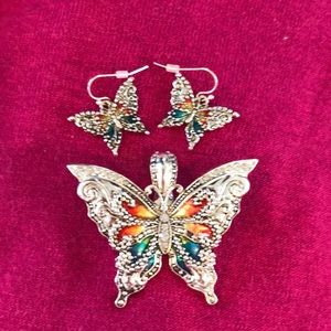 Jewelry - Butterfly pendant and earrings.